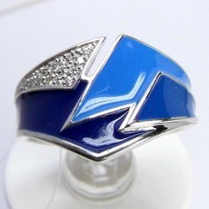 Unique Design Enamel Sterling SILVER Ring sz 7.5